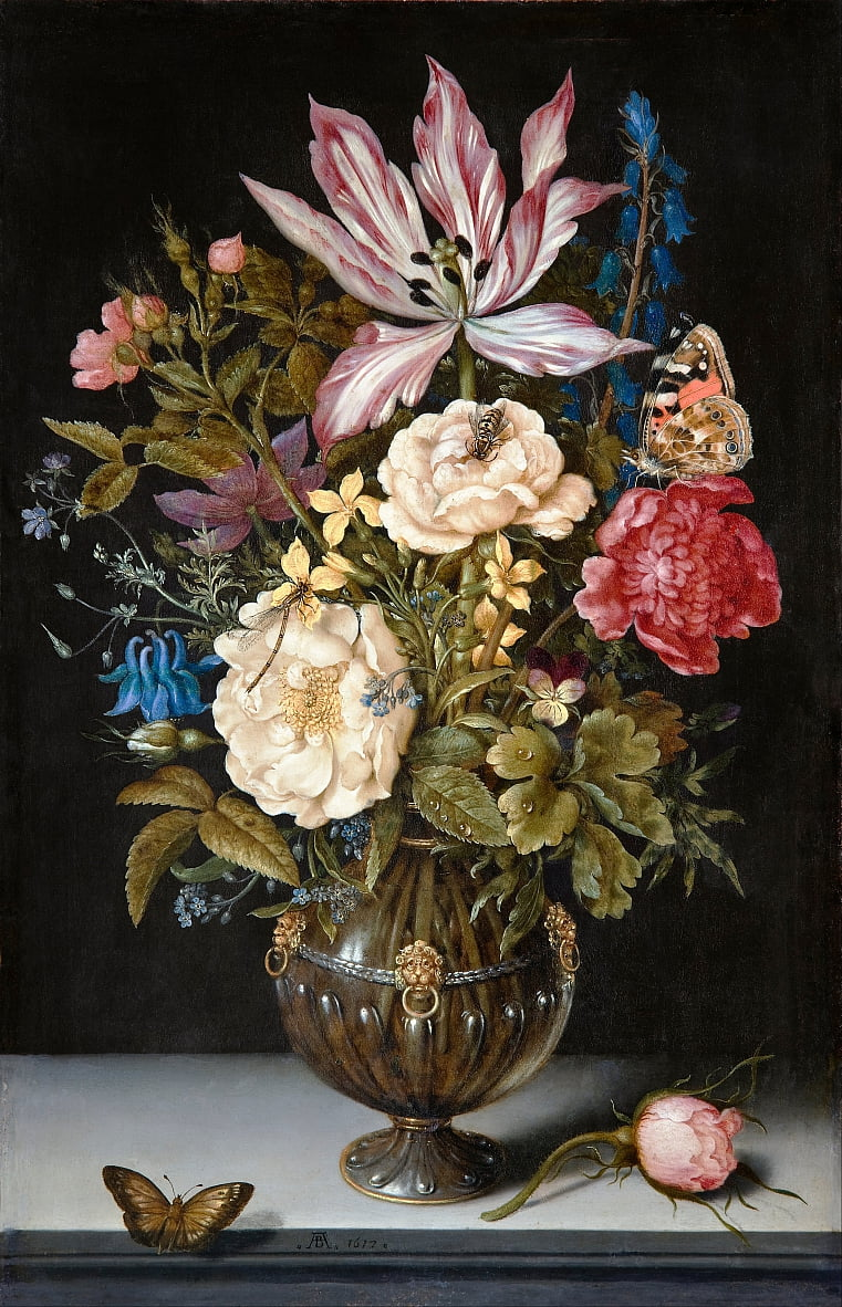 静物与鲜花 作者 Ambrosius the Elder Bosschaert